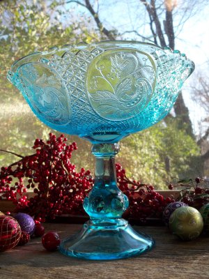 EAPG Open Compote~Wildflower Panels~Blue Flint Glass~