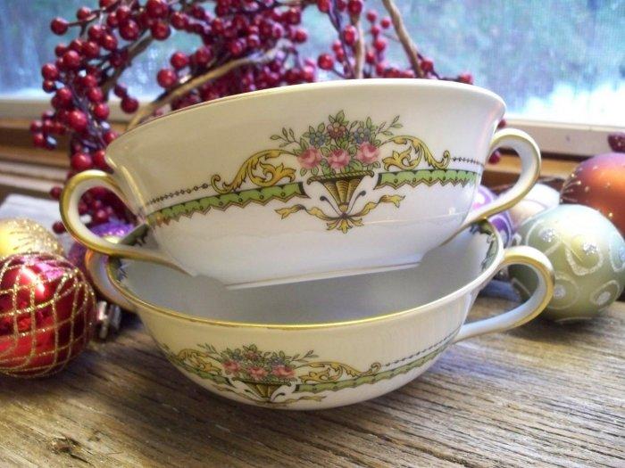 Set of 2 Noritake China PENELOPE Cream Soup Bowls