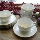 5 Haviland Limoges France White Cup & Saucer Sets