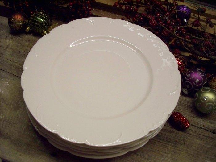"Set of 5 Theodore Haviland Limoges 10"" Blank White Dinner Plates"