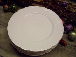 "Set of 5 Theodore Haviland Limoges 10"" Blank White Dinner Plates"