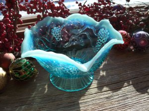 Jefferson Glass Blue Opalescent Ruffled Low Compote #245 Vintage Pre-1907 EAPG