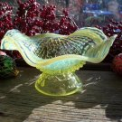 Opalescent Vaseline EAPG Glass ARGONAUT SHELL Nautilus Tray Whimsy Piece