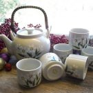 Otagiri Original Porcelain 6 Cups & Daisy Tea Pot Set