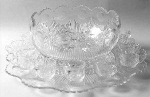14-Piece Punch Set Manhattan-Clear pattern U S Glass Co