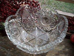 """AVERBECK Radium Cut 8"""" ABP Glass Fruit Salad Bowl"""