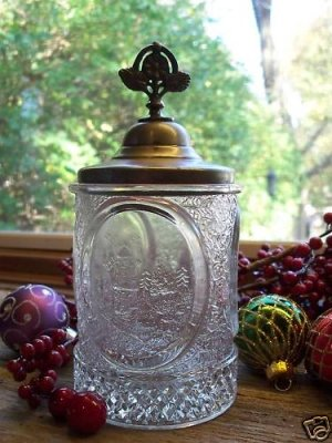 Boston Sandwich Glass EAPG LITTLE RIVER~Victorian Marmalade Table Jar