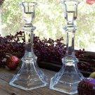 Set of 2 Tall Elegant Crystal Taper Candlestick Holders