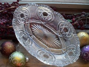 Duncan Glass Co. STARRED LOOP Relish Dish c.1899 EAPG