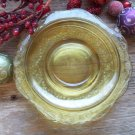 Set of 4 Federal Depression Glass Amber MADRID Pattern Saucers