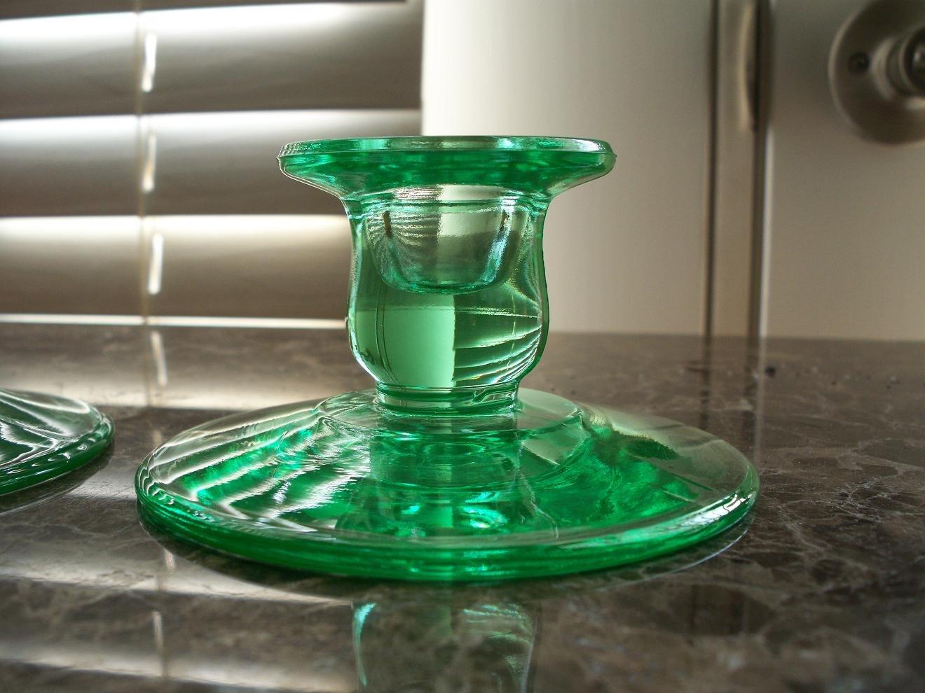 Set of 2 Green Depression Glass Single Light Candlesticks