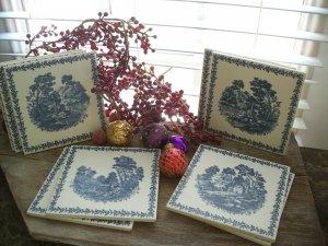 "9 piece Richard Ginori Blue & White 6"" Porcelain/Ceramic Tiles~Tile"