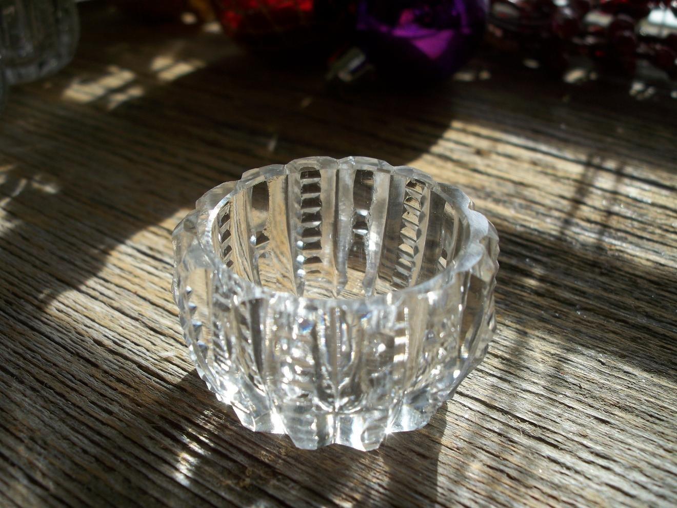 Set of 7 ABP American Brilliant PRISM Zipper Cut Glass Salt Cellars/Dips