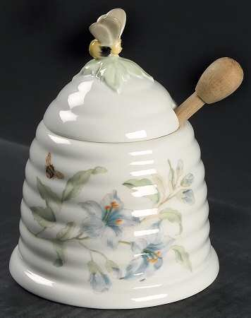 Lenox China BUTTERFLY MEADOW Bee Hive Honey Pot with Lid & Dipper