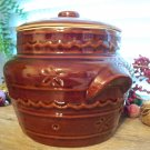 Vintage Marcrest DAISY DOT Brown Pottery Bean Pot & Lid