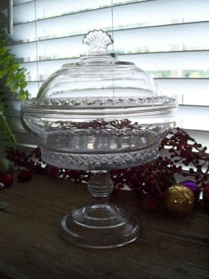 Antique Victorian Bryce Higbee SPIREA BAND Crystal Covered Compote