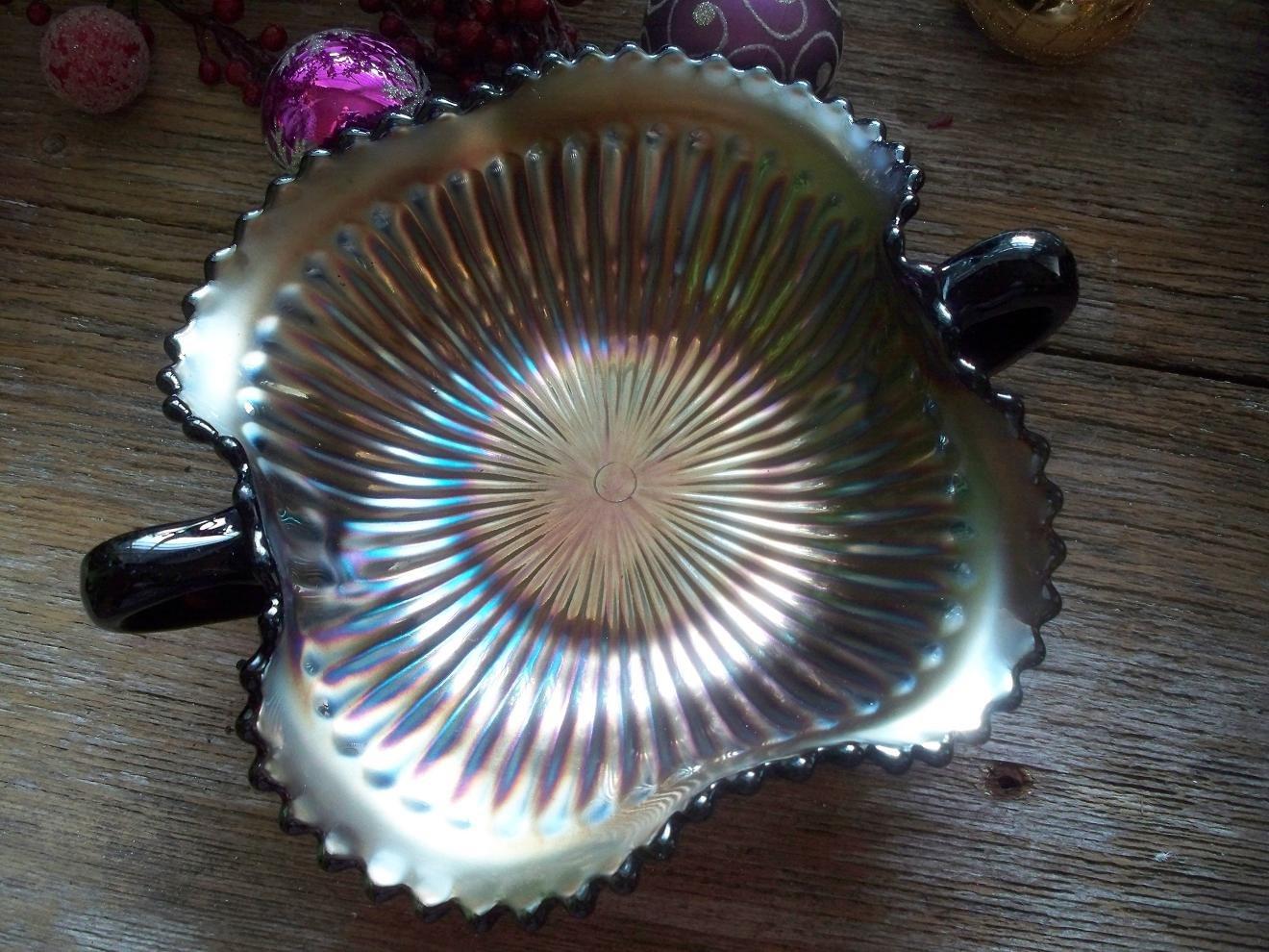 Northwood Amethyst Carnival Glass RAYS 2 Handle Footed Bon Bon