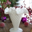 """Fenton Hobnail Milk Glass 4"""" Double Crimped Footed Vase"""