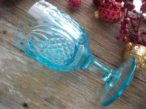 Boston & Sandwich Glass NEW ENGLAND PINEAPPLE Blue Water Goblet