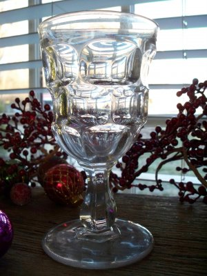 CREASED ASHBURTON Flint Glass Water Goblet
