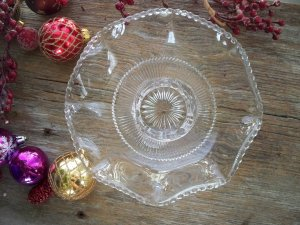 U.S. Glass Company States Series COLORADO Footed Ruffled Bowl