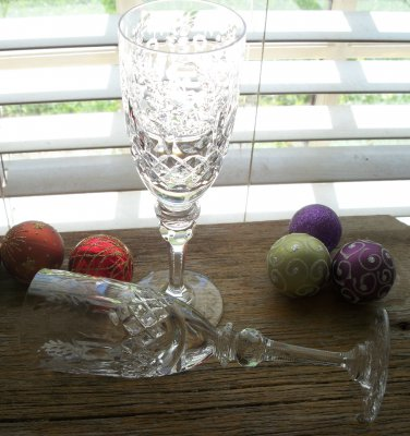 Rogaska Gallia Fluted Champagne Stems Goblets Set of 2