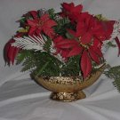 Vintage gold planter McCoy Gold finish 1950s 1960s Plastic flowers   132