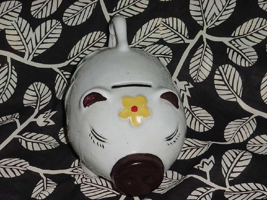 white Piggy bank happy face floral design piggy bank  No. 60