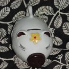 white Piggy bank happy face floral design piggy bank  No. 60