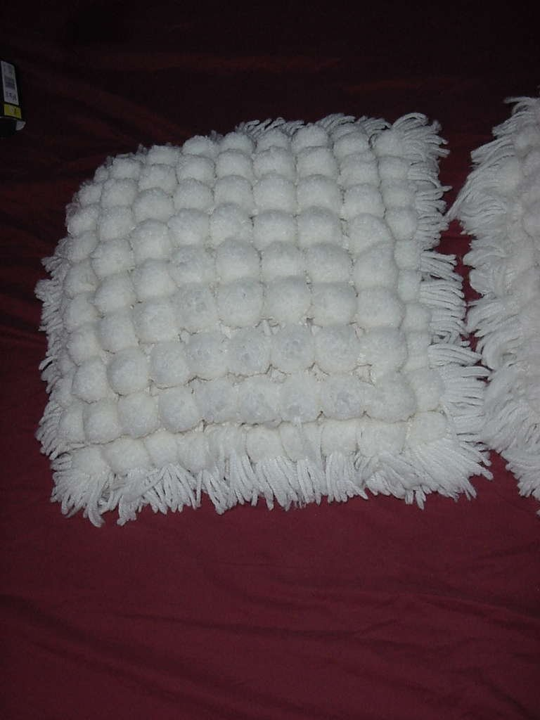 Pom Pom pillow tops retro pillow tops bottoms need replace No. 135
