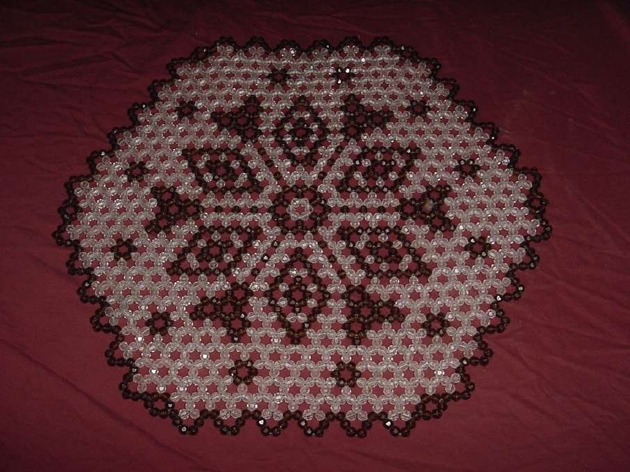 Vintage Beaded placemat design 1970s beaded place mat  135