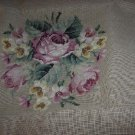 Vintage Rose Needlework Tapestry embroidered Rose Seat Cover Seat Back Textile   138