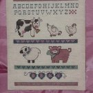 Cross stitch Sampler Baby Letters Baby Animals Ready for framing
