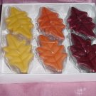 Hallmark Leaf Candles 6 leaf shape candles Orange Yellow Rust  No. 142