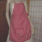 Red White Check apron bib apron   143