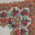Scarf  31  x31  Roses decorative design oranges reds No. 53