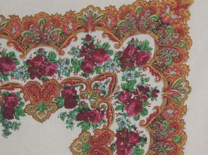 Scarf  31  x31  Roses decorative design oranges reds