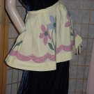 Half Apron vintage apron yellow gingham flowers   53