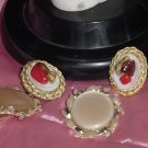 Vintage Earrings Two pair one pearl beige 1960s pair one Hobe