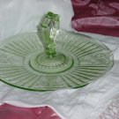 Green depression glass Sandwich Server Roses