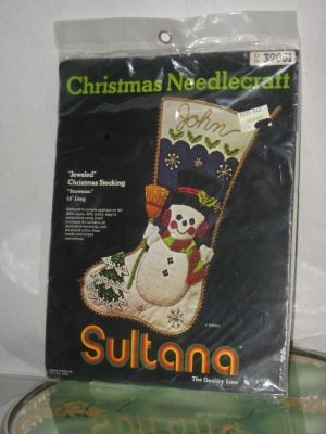 Sultana Christmas Needlecraft Jeweled Christmas Stocking Kit Snowman No. 174