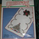 Bucilla Christmas Holiday Tree stamped Cross Stitch Table Runner No. 177