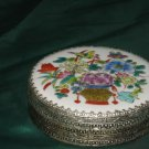 Painted top Knick Knack Box Round Floral Design Lid Decorative sides No. 177
