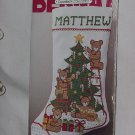 "Bernat ""Tree Trimmers"" Bears Stocking Counted CrossStitch Kit Unopened Pkg  No. 180"