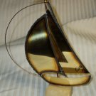 Metal Sculpture Sailboat on base Mid century Modern Signed