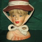 Vintage Lady Relpo head vase Brown white hat Scarf K1783 No. 181
