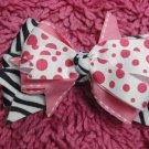 Pink Polka & Zebra Print Hair Bow!!!