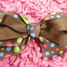 Brown Polka DotHair Bow!!!