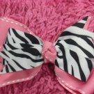 Pink & Zebra Print Hair Bow!!!