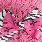 Pink w/ Blk Crosses & Zebra Print Hair Bow!!!